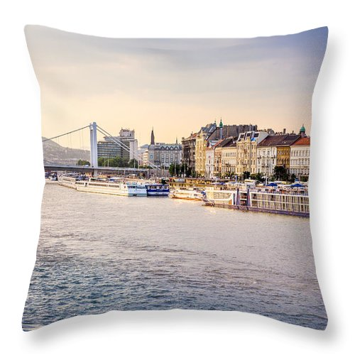 Orange Throw Pillow featuring the photograph Riverside by Pati Photography