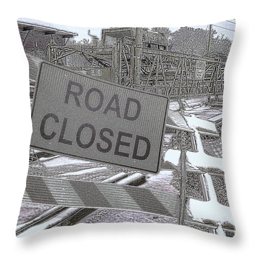 Road Throw Pillow featuring the photograph Road Closed by Diane Macdonald