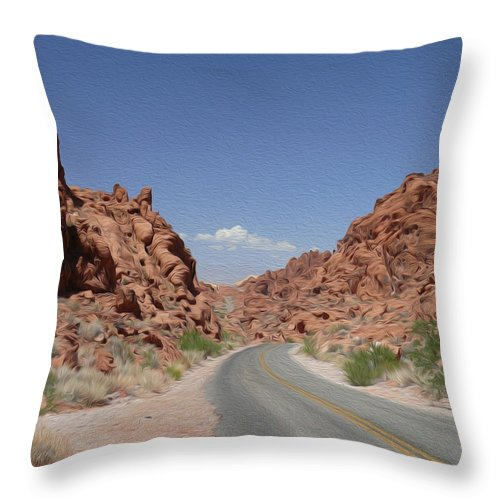 Valley Of Fire State Park Throw Pillow featuring the photograph Road Throught The Valley Of Fire by Tracy Winter