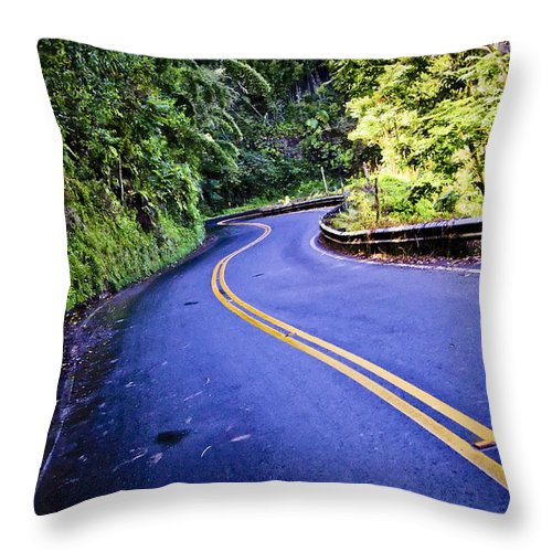 3scape Throw Pillow featuring the photograph Road To Hana by Adam Romanowicz