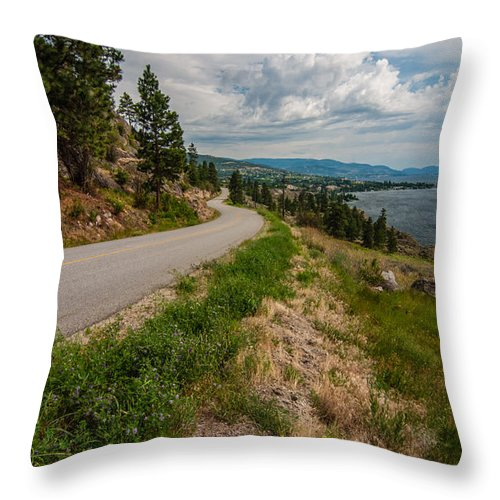 Blue Throw Pillow featuring the photograph Road To Naramata by James Wheeler