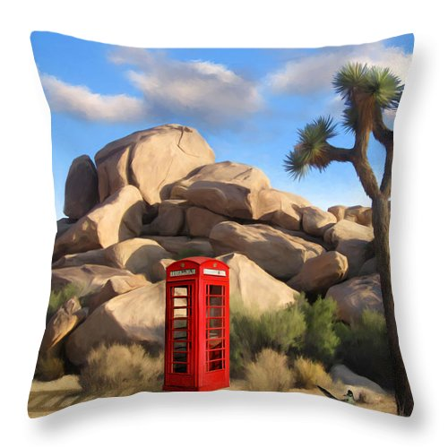 Desert Throw Pillow featuring the painting Phone Booth In Joshua Tree by Snake Jagger