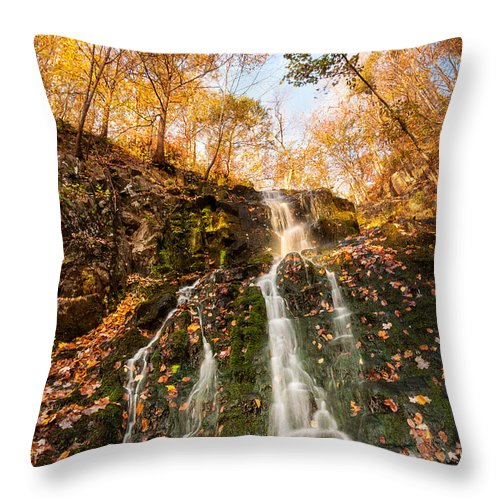 Cliff Throw Pillow featuring the photograph Waterfall - Roaring Brook Autumnlands by JG Coleman