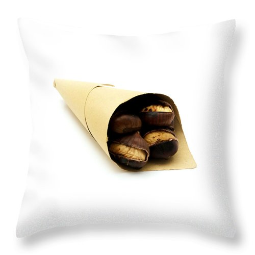 White Background Throw Pillow featuring the photograph Roasted Chestnut by Fabrizio Troiani