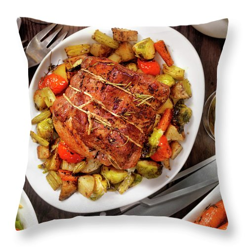 Gravy Throw Pillow featuring the photograph Roasted Pork Loin Roast Dinner by Lauripatterson