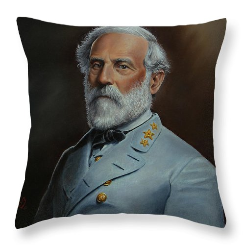 Portrait Throw Pillow featuring the painting Robert E. Lee by Glenn Beasley