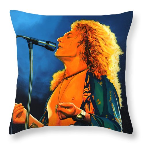 Robert Plant Throw Pillow featuring the painting Robert Plant by Paul Meijering