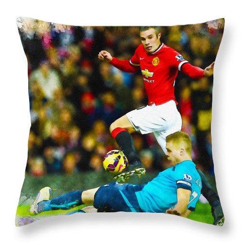 English Throw Pillow featuring the digital art Robin Van Persie Of Manchester United by Don Kuing