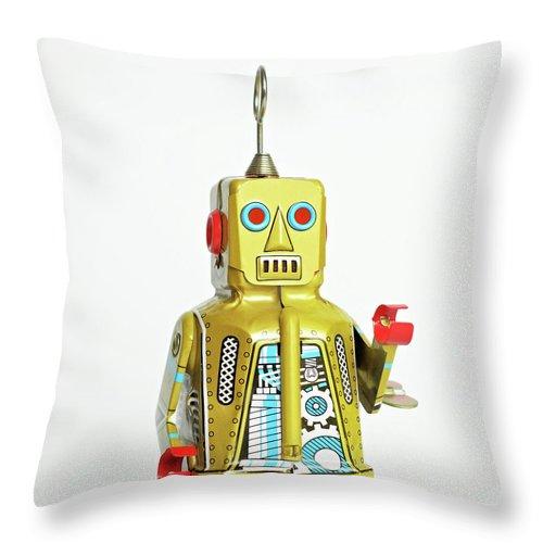 Cut Out Throw Pillow featuring the photograph Robots by Juj Winn