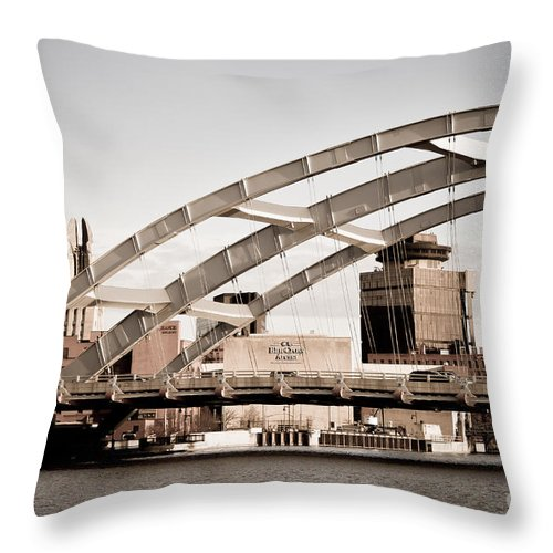Rochester Throw Pillow featuring the photograph Rochester Over The River by Ken Marsh
