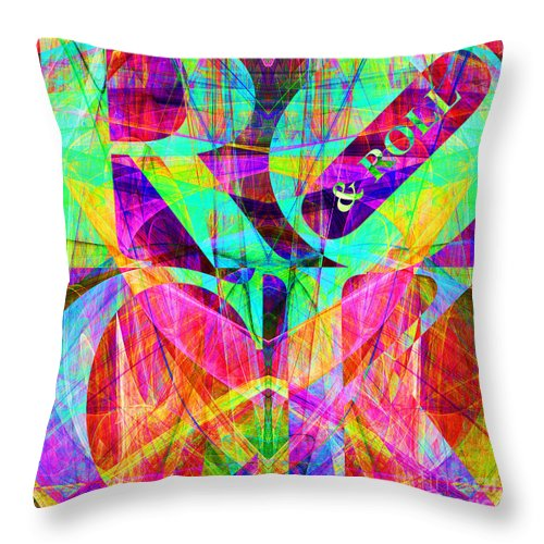 Abstract Throw Pillow featuring the digital art Rock And Roll 20130708 Fractal by Wingsdomain Art and Photography