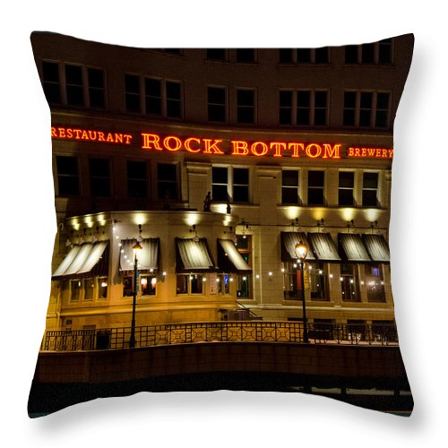 Rock Bottom Throw Pillow featuring the photograph Rock Bottom - Milwaukee by Susan McMenamin