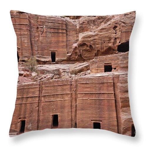 Tombs Throw Pillow featuring the photograph Rock Cut Tombs On The Street Of Facades In Petra Jordan by Robert Preston