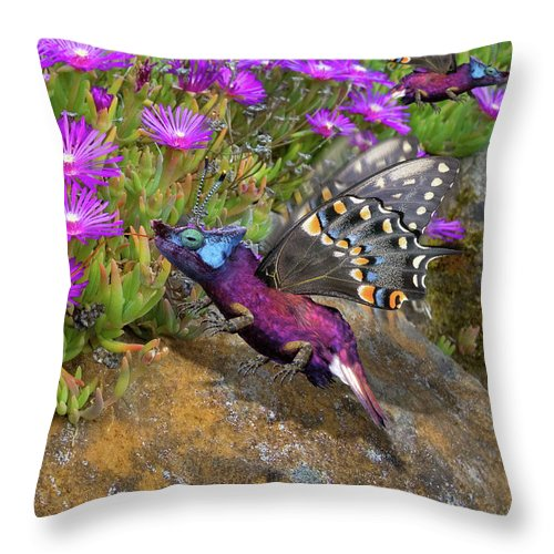 Rock Throw Pillow featuring the digital art Rock Flower Birguana Fly by Arthur Fix