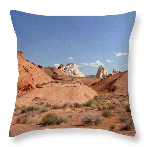 Valley Of Fire State Park Throw Pillow featuring the photograph Rock Formations by Tracy Winter