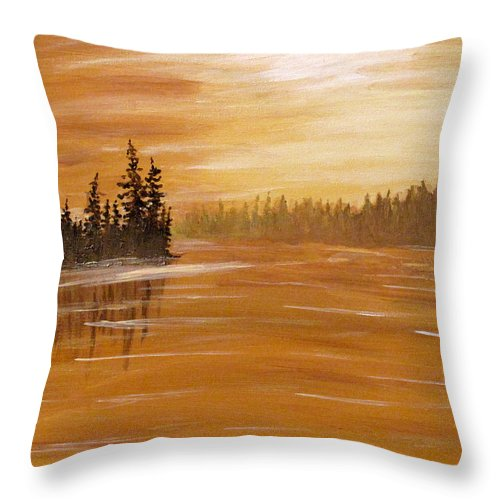 Northern Ontario Throw Pillow featuring the painting Rock Lake Morning 1 by Ian MacDonald