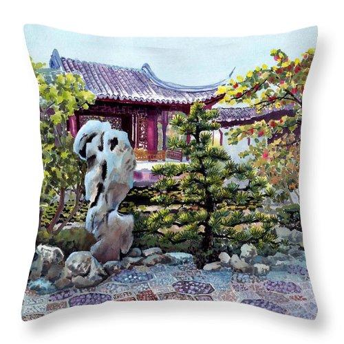 Chinese Classical Garden Throw Pillow featuring the painting Rock Landscape Of The Dr. Sun Yat-sen Garden by Eileen Fong