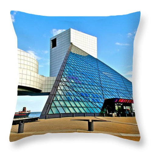 Rock Throw Pillow featuring the photograph Rock n Roll Hall of Fame by Frozen in Time Fine Art Photography