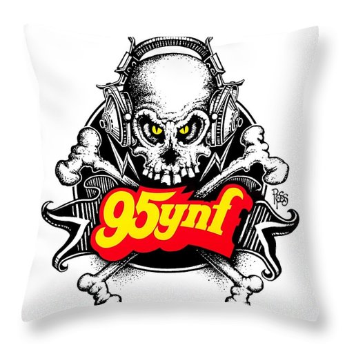 95ynf Throw Pillow featuring the digital art Rock 'n Roll Pirates by Scott Ross