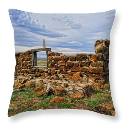 Old Homestead Throw Pillow featuring the photograph Rock Hills Prairie by Amanda Smith