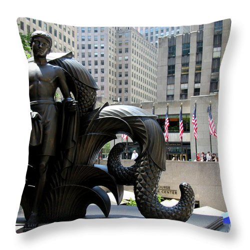 Rockefeller Plaza Throw Pillow featuring the photograph Rockefeller Plaza II by Christiane Schulze Art And Photography