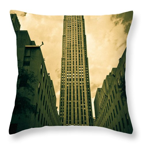 Rockefeller Tower Throw Pillow featuring the photograph Rockefeller Tower by Ken Marsh