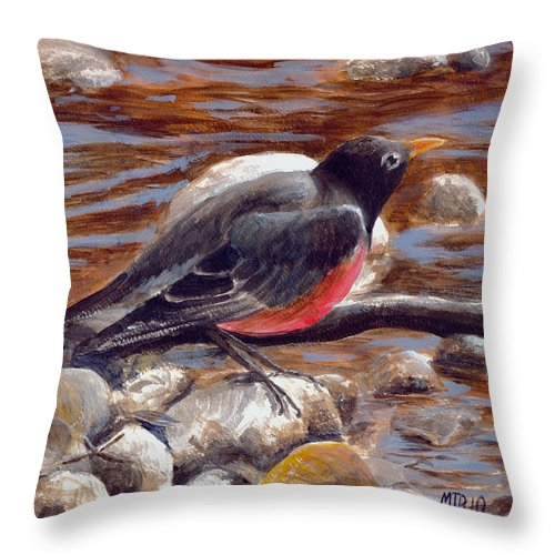Throw Pillow featuring the painting Rockin' Robin by Michael Beckett