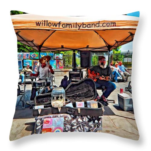 New Orleans Throw Pillow featuring the photograph Rockin' The Square by Steve Harrington
