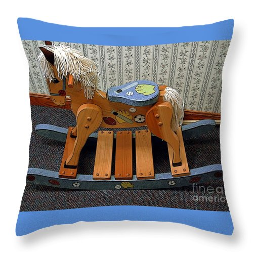 Wooden Throw Pillow featuring the photograph Rocking Horse by Kathleen Struckle