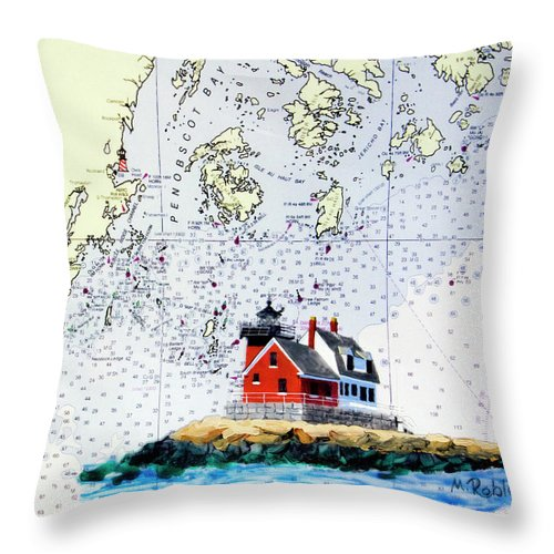 Rockland Throw Pillow featuring the painting Rockland Breakwater Light by Mike Robles