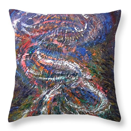 Rockpools Throw Pillow featuring the painting Rockpools by Diane Quee