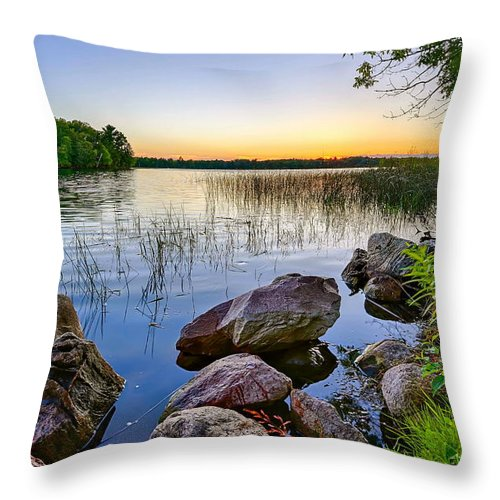 Lake Throw Pillow featuring the photograph Rocks Near The Shore by Bryan Benson
