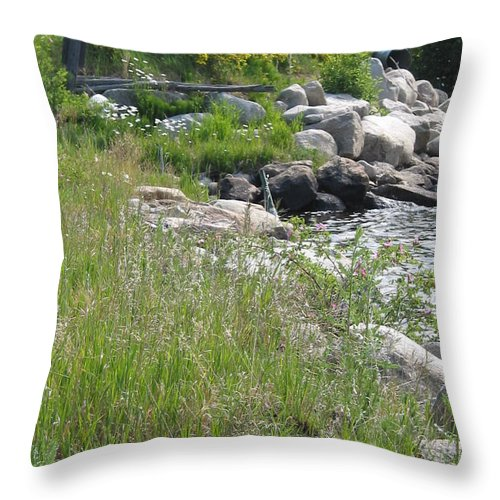 Landscape Throw Pillow featuring the photograph Rocks On The Shore Shadow Mountain Lake by Jacqueline Russell