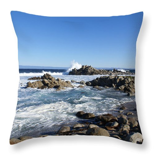 Barbara Snyder Throw Pillow featuring the digital art Rocky Beach On 17 Mile Drive by Barbara Snyder