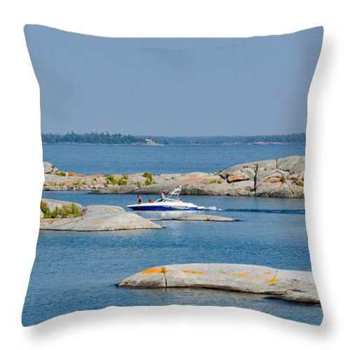 Rocks Throw Pillow featuring the photograph Rocky Islands On Georgian Bay by Les Palenik