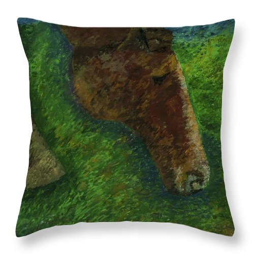 Horse Landscape Throw Pillow featuring the pastel Rocky by Jon Kittleson