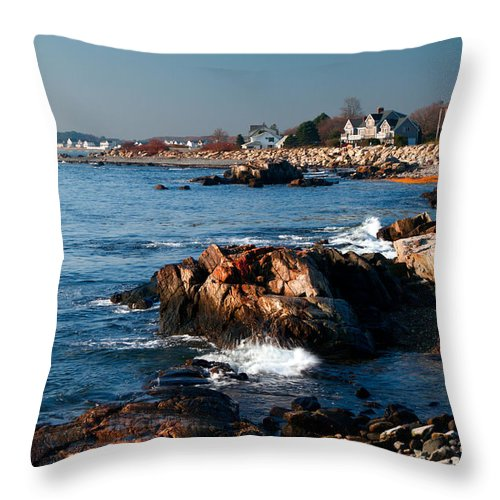 Seascape Throw Pillow featuring the photograph Rocky Morning by Shell Ette