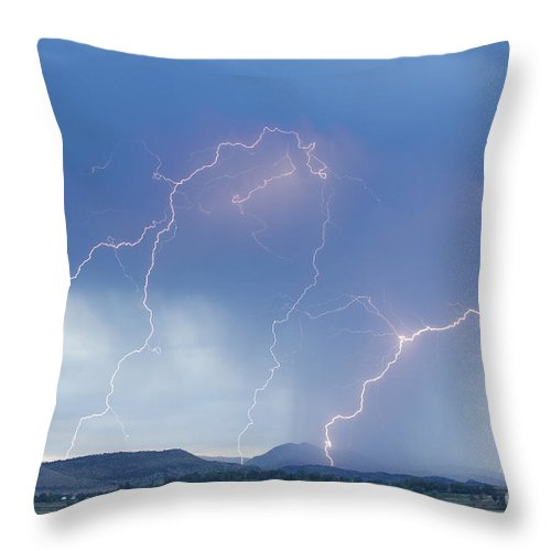 Lightning Throw Pillow featuring the photograph Rocky Mountain Front Range Foothills Lightning Strikes by James BO Insogna