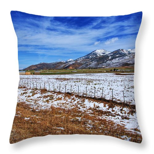 Wyoming Throw Pillow featuring the photograph Rocky Mountain Ranch by Aidan Moran