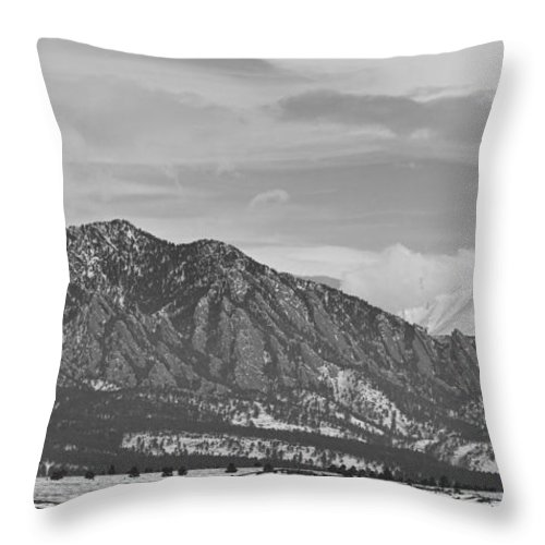 Rocky Mountains Throw Pillow featuring the photograph Rocky Mountains Flatirons And Longs Peak Panorama 2 by James BO Insogna
