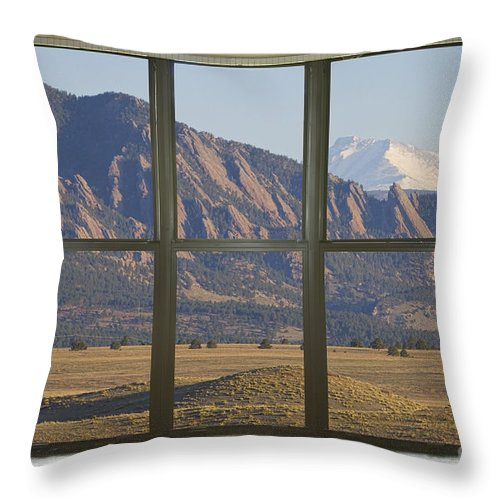 Window Throw Pillow featuring the photograph Rocky Mountains Flatirons With Snow Longs Peak Bay Window View by James BO Insogna