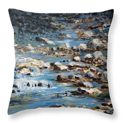 Rocks Throw Pillow featuring the painting Rocky Shore by Joanne Smoley