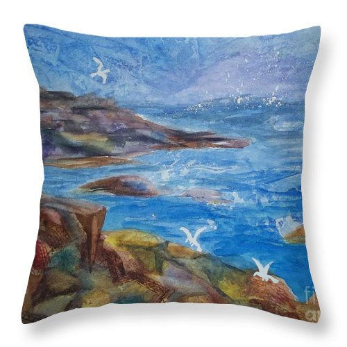 Maine Coast Throw Pillow featuring the painting Rocky Shores Of Maine by Ellen Levinson