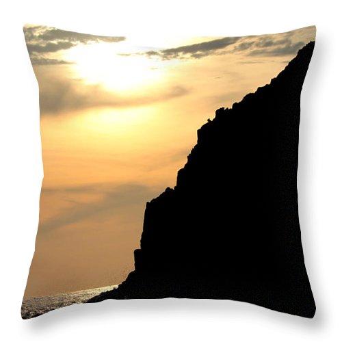 Ocean Throw Pillow featuring the digital art Rocky Sundown by Juan Miranda