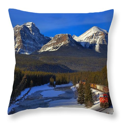 Cp Rail Throw Pillow featuring the photograph Rocky Train by James Anderson