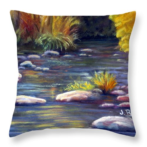Rocks Throw Pillow featuring the painting Rocky Waters by Julia RIETZ