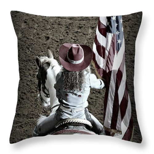 Rodeo Throw Pillow featuring the photograph Rodeo America by Stephen Stookey