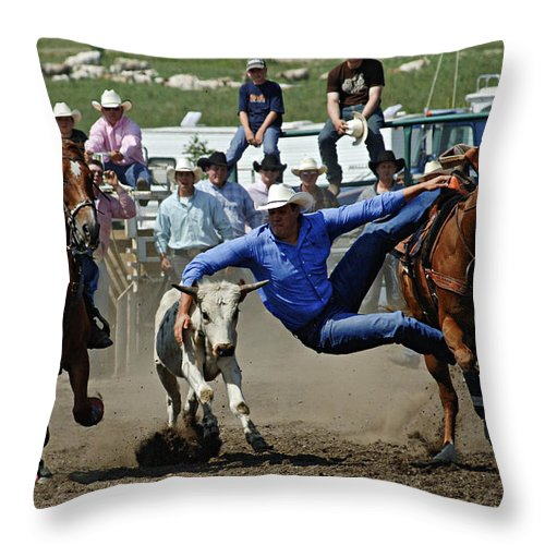 Rodeo Throw Pillow featuring the photograph Rodeo Steer Wrestling by Bob Christopher