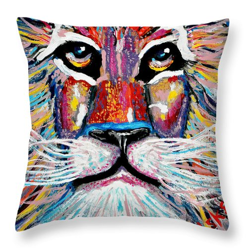 Abstract Lion Throw Pillow featuring the painting Rodney Abstract Lion by Barney Napolske