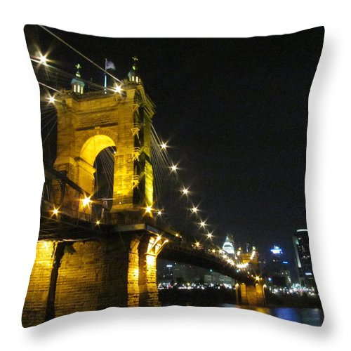 Roebling Throw Pillow featuring the photograph Roebling Bridge II by Artistic Explorer Creations By Gregg L Walker